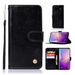 Luxury Retro Leather Wallet Case for Samsung Galaxy S10 (6.1 inch) - Black