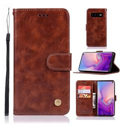 Luxury Retro Leather Wallet Case for Samsung Galaxy S10 (6.1 inch) - Brown