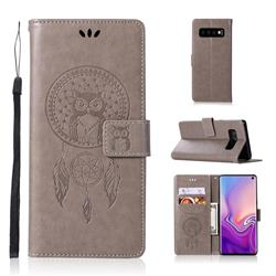 Intricate Embossing Owl Campanula Leather Wallet Case for Samsung Galaxy S10 (6.1 inch) - Grey