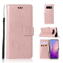 Intricate Embossing Owl Campanula Leather Wallet Case for Samsung Galaxy S10 (6.1 inch) - Rose Gold