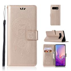 Intricate Embossing Owl Campanula Leather Wallet Case for Samsung Galaxy S10 (6.1 inch) - Champagne