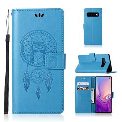 Intricate Embossing Owl Campanula Leather Wallet Case for Samsung Galaxy S10 (6.1 inch) - Blue