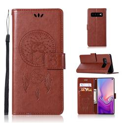 Intricate Embossing Owl Campanula Leather Wallet Case for Samsung Galaxy S10 (6.1 inch) - Brown