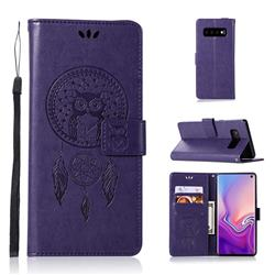 Intricate Embossing Owl Campanula Leather Wallet Case for Samsung Galaxy S10 (6.1 inch) - Purple