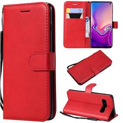 Retro Greek Classic Smooth PU Leather Wallet Phone Case for Samsung Galaxy S10 (6.1 inch) - Red