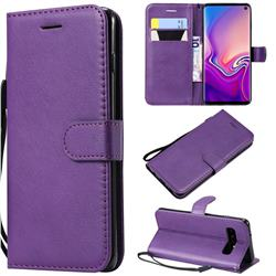 Retro Greek Classic Smooth PU Leather Wallet Phone Case for Samsung Galaxy S10 (6.1 inch) - Purple