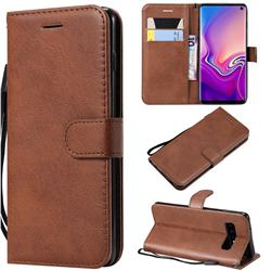 Retro Greek Classic Smooth PU Leather Wallet Phone Case for Samsung Galaxy S10 (6.1 inch) - Brown