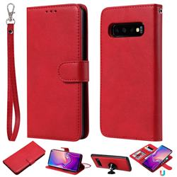 Retro Greek Detachable Magnetic PU Leather Wallet Phone Case for Samsung Galaxy S10 (6.1 inch) - Red