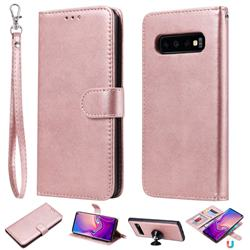Retro Greek Detachable Magnetic PU Leather Wallet Phone Case for Samsung Galaxy S10 (6.1 inch) - Rose Gold