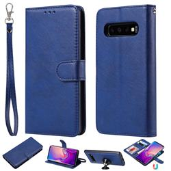 Retro Greek Detachable Magnetic PU Leather Wallet Phone Case for Samsung Galaxy S10 (6.1 inch) - Blue
