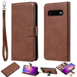 Retro Greek Detachable Magnetic PU Leather Wallet Phone Case for Samsung Galaxy S10 (6.1 inch) - Brown