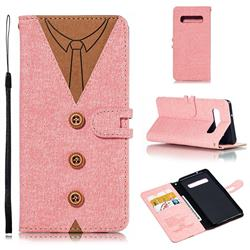 Mens Button Clothing Style Leather Wallet Phone Case for Samsung Galaxy S10 (6.1 inch) - Pink