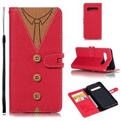 Mens Button Clothing Style Leather Wallet Phone Case for Samsung Galaxy S10 (6.1 inch) - Red