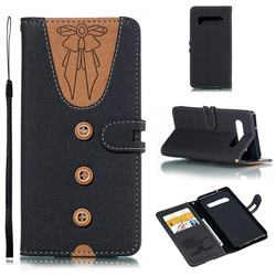 Ladies Bow Clothes Pattern Leather Wallet Phone Case for Samsung Galaxy S10 (6.1 inch) - Black