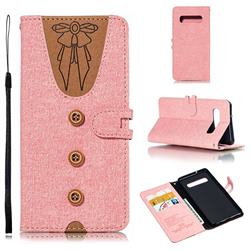 Ladies Bow Clothes Pattern Leather Wallet Phone Case for Samsung Galaxy S10 (6.1 inch) - Pink