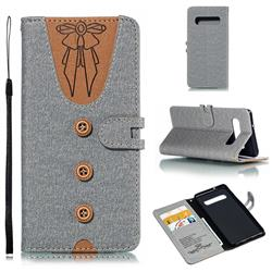 Ladies Bow Clothes Pattern Leather Wallet Phone Case for Samsung Galaxy S10 (6.1 inch) - Gray