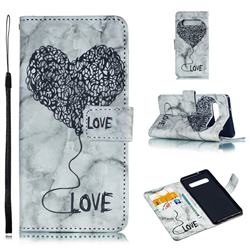 Marble Heart PU Leather Wallet Phone Case for Samsung Galaxy S10 (6.1 inch) - Black