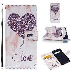 Marble Heart PU Leather Wallet Phone Case for Samsung Galaxy S10 (6.1 inch) - Purple
