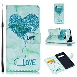 Marble Heart PU Leather Wallet Phone Case for Samsung Galaxy S10 (6.1 inch) - Green