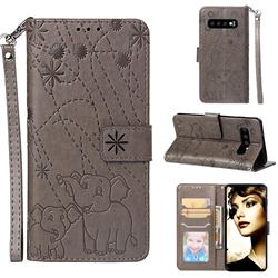 Embossing Fireworks Elephant Leather Wallet Case for Samsung Galaxy S10 (6.1 inch) - Gray