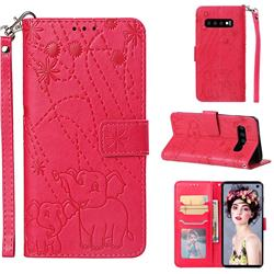 Embossing Fireworks Elephant Leather Wallet Case for Samsung Galaxy S10 (6.1 inch) - Red