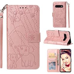 Embossing Fireworks Elephant Leather Wallet Case for Samsung Galaxy S10 (6.1 inch) - Rose Gold
