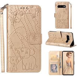 Embossing Fireworks Elephant Leather Wallet Case for Samsung Galaxy S10 (6.1 inch) - Golden