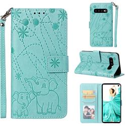 Embossing Fireworks Elephant Leather Wallet Case for Samsung Galaxy S10 (6.1 inch) - Green