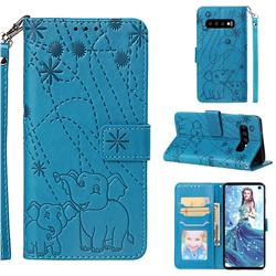 Embossing Fireworks Elephant Leather Wallet Case for Samsung Galaxy S10 (6.1 inch) - Blue