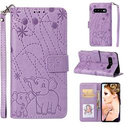 Embossing Fireworks Elephant Leather Wallet Case for Samsung Galaxy S10 (6.1 inch) - Purple