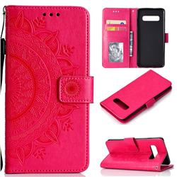 Intricate Embossing Datura Leather Wallet Case for Samsung Galaxy S10 (6.1 inch) - Rose Red