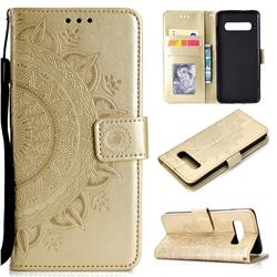 Intricate Embossing Datura Leather Wallet Case for Samsung Galaxy S10 (6.1 inch) - Golden
