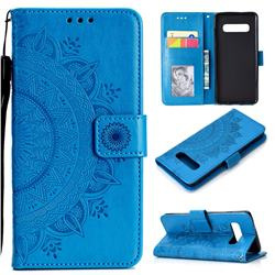 Intricate Embossing Datura Leather Wallet Case for Samsung Galaxy S10 (6.1 inch) - Blue