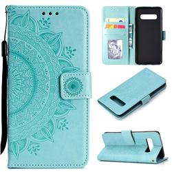 Intricate Embossing Datura Leather Wallet Case for Samsung Galaxy S10 (6.1 inch) - Mint Green