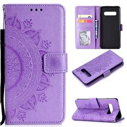 Intricate Embossing Datura Leather Wallet Case for Samsung Galaxy S10 (6.1 inch) - Purple