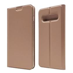 Ultra Slim Card Magnetic Automatic Suction Leather Wallet Case for Samsung Galaxy S10 (6.1 inch) - Rose Gold