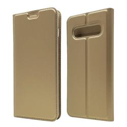 Ultra Slim Card Magnetic Automatic Suction Leather Wallet Case for Samsung Galaxy S10 (6.1 inch) - Champagne