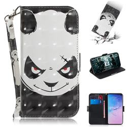 Angry Bear 3D Painted Leather Wallet Phone Case for Samsung Galaxy S10 (6.1 inch)