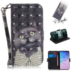 Cat Embrace 3D Painted Leather Wallet Phone Case for Samsung Galaxy S10 (6.1 inch)