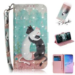 Black and White Cat 3D Painted Leather Wallet Phone Case for Samsung Galaxy S10 (6.1 inch)