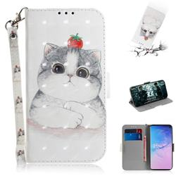 Cute Tomato Cat 3D Painted Leather Wallet Phone Case for Samsung Galaxy S10 (6.1 inch)