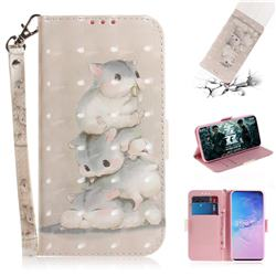 Three Squirrels 3D Painted Leather Wallet Phone Case for Samsung Galaxy S10 (6.1 inch)