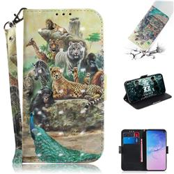 Beast Zoo 3D Painted Leather Wallet Phone Case for Samsung Galaxy S10 (6.1 inch)