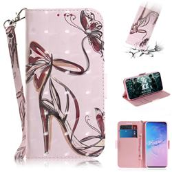 Butterfly High Heels 3D Painted Leather Wallet Phone Case for Samsung Galaxy S10 (6.1 inch)