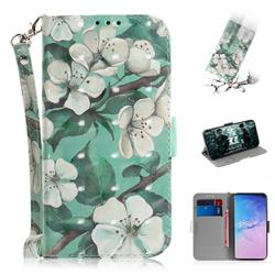 Watercolor Flower 3D Painted Leather Wallet Phone Case for Samsung Galaxy S10 (6.1 inch)