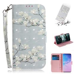 Magnolia Flower 3D Painted Leather Wallet Phone Case for Samsung Galaxy S10 (6.1 inch)