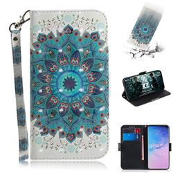 Peacock Mandala 3D Painted Leather Wallet Phone Case for Samsung Galaxy S10 (6.1 inch)