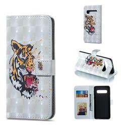 Toothed Tiger 3D Painted Leather Phone Wallet Case for Samsung Galaxy S10 (6.1 inch)