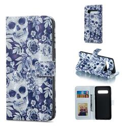 Skull Flower 3D Painted Leather Phone Wallet Case for Samsung Galaxy S10 (6.1 inch)