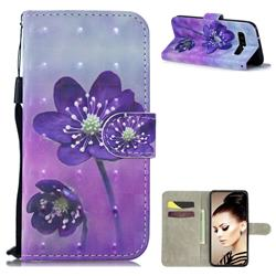 Purple Flower 3D Painted Leather Wallet Phone Case for Samsung Galaxy S10 (6.1 inch)